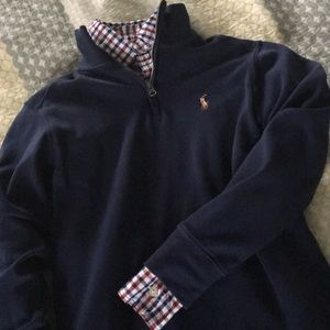 Boys polo button down and quarter zip. Size 8. EUC